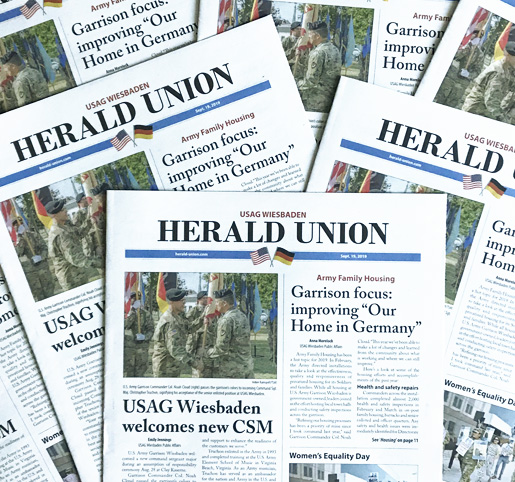 The american military newspaper for the area of Wiesbaden, the Herald Union